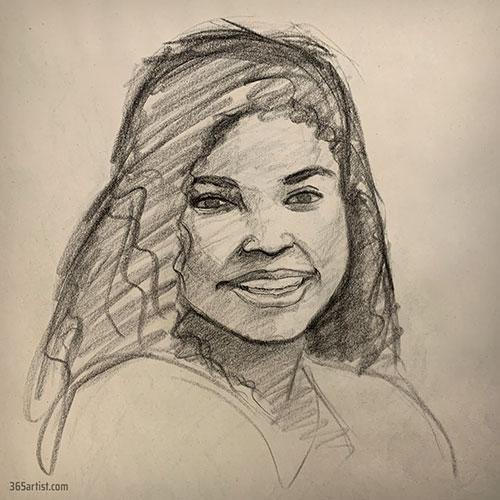 portrait drawing of latina woman