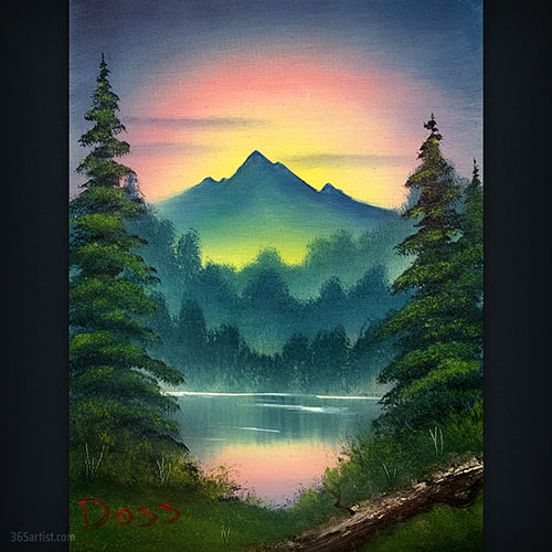 mountain sunset oil painting