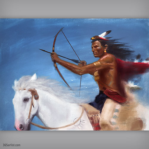 digital painting of native american indian