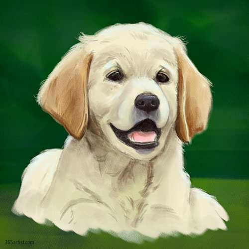 digital painting of a puppy