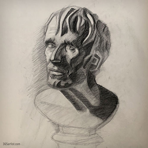 drawing of a statue bust