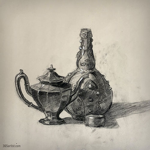 still life charcoal drawing of teapot