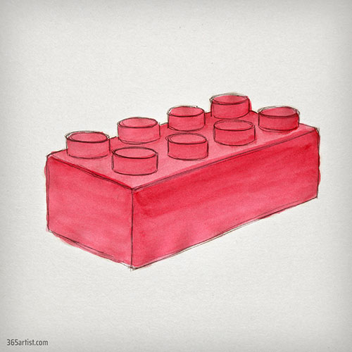 watercolor painting of lego brick
