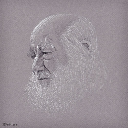 white beard charcoal drawing