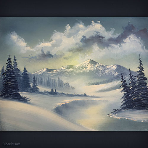 Bob Ross winter mountain landscape painting